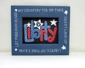 Liberty America Folk Art Sign, Whimsical Art, Americana, Reclaimed Wood Frame, Red, White, And Blue, Patriotic Frame, White Stars, TOSCOFG