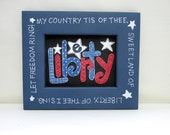 Liberty America Folk Art Sign, Whimsical Art, Americana, Reclaimed Wood Frame, Red, White, And Blue, Patriotic Frame, White Stars, TOSCOFG