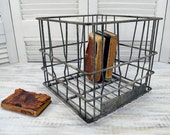 Rustic Milk Crate - vintage wire Chillicothe Ohio dairy crate