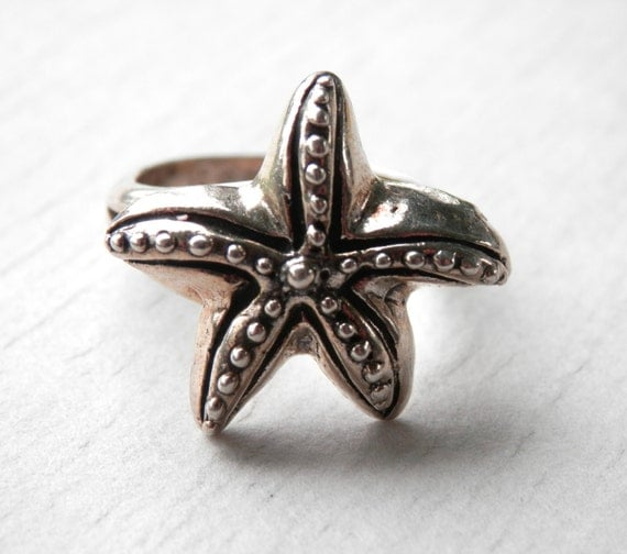 vintage starfish ring sterling silver size 6 by