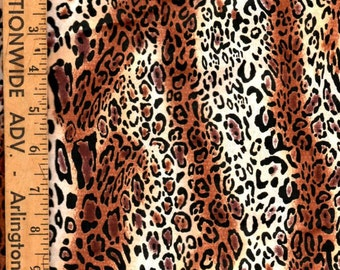 Fabric Cotton Blend Quilting Crafting Sewing Fabric Cheetah Animal Print 1/2 Yard Half