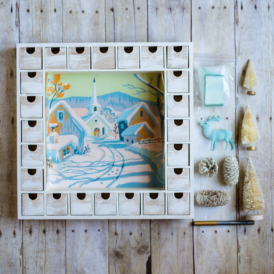 Advent Calendar Diy Kit : Diy wooden christmas advent calendar kit snowy by