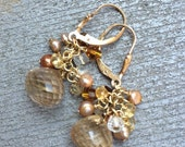 Golden Rutilated Quartz Cluster Earrings on GF Leverback