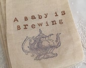 Boy Favor Bags Tea Party Blue Teapot Baby is Brewing Muslin Bags Set of 10