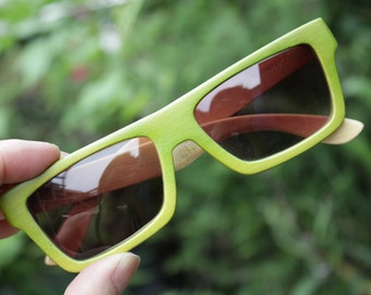 Apple agreen 100%  handmade bamboo qusare prescription TAKEMOTO sunglasses
