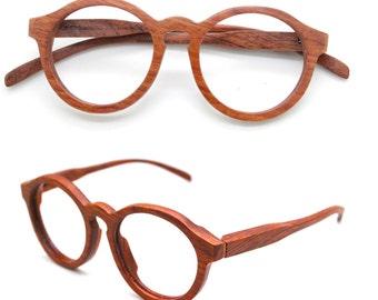 Sale - 10% off  THANKS handmade round TAKEMOTO rosewood glasses custom rx prescription sunglasses frames