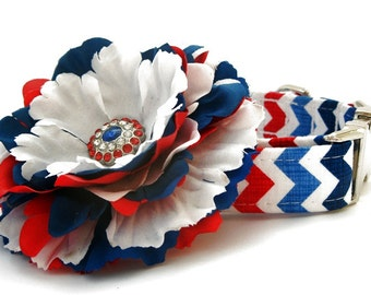 Patriotic Chevron Dog Collar with Nickel Plate Hardware and Flower Accessory