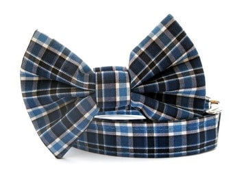 Navy Blue Plaid Bow Tie Dog Collar with Nickel Plate Hardware