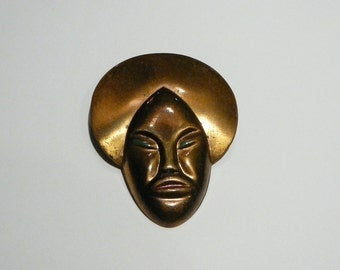 Antique Vtg African Nubian Princess Brooch Pin with enamel accents metal
