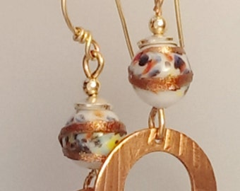 Vintage Japanese beads and bronze earrings - white with multicolor sparkes and gold swirls