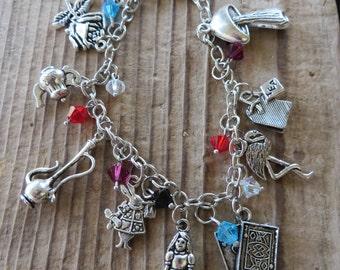 Alice in Wonderland Inspired Silver Charm and Crystal Bracelet