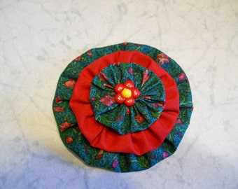 Flower in Cotton Print in Green with Red embellished with a Red Center Button, Fashion Accessory