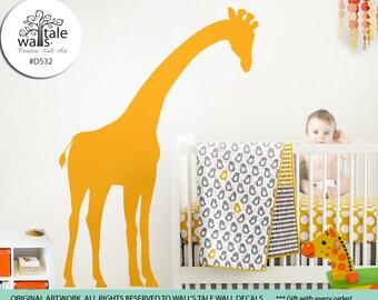 Large Peeking Giraffe wall decal for nursery,children bedroom, Kids Bedroom. Removable Vinyl Wall Art - d532