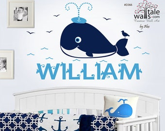 Nautical Nursery Decal - Whale with name and seagull birds. Sea wall decal for boy's room. d366