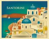 Santorini Skyline Art Print, Greece Retro Travel Print, Santorini Wall Art, Santorini Greece horizontal art, Greek Art - style E8-O-SANTOR