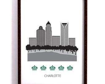 Charlotte. poster, Art print, Scandinavian design, skyline, queen city, modern poster
