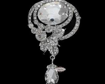 Dangling Rhinestone Brooch Pin - Flatback Supply - Flatback Embellishment Button - Wedding Brooch - Wedding Jewelry Supply - RD451