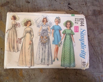 Vintage Simplicity 8144 Misses' Wedding Dress or Bridesmaid Sewing Pattern Size 14 Bust 36