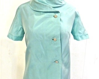 vintage aqua party dress - 1960s mini silk taffeta mod rhinestone-button dress