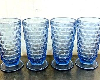 vintage blue footed glasses - 1950s-60s mid century large tumbler glasses set of 4