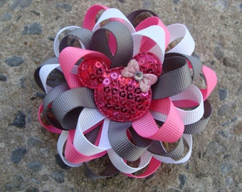 Disney Hair Bow Mickey Mouse Hair Bow Minnie Mouse Hair Bow Loopy Flower Hair Bow pink and grey hair bow