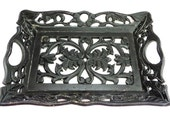 Hand carved Black Wooden Tray with Handles Antique Wood Serving Tray Ornate filigree tray flowers black wood decorative tray Unique Tray