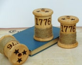 Americana 1776 Wood Spool Home Decor Shelf Sitter Independence Day Primitive
