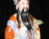 Large Vintage Chinese Porcelain SAVED for ROSS Figure of Lu Lucky God of Prosperity