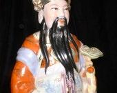 Large Vintage Chinese Porcelain Figure of Lu Lucky God of Prosperity