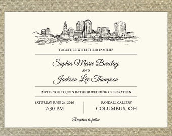 Columbus Ohio Skyline Destination Wedding Invitation; SAMPLE ONLY