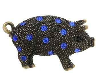 Vintage Style Sapphire Blue Piggie Crystal Pin Brooch 1002831