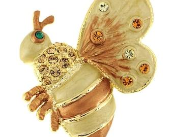 Golden Brown Bee Bug Swarovski Crystal Brooch Pin 1012033