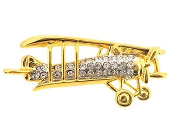 Golden Biplane Brooch 1004741