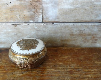 Vintage Metal Jewelry or Trinket Box Gold and White Inlay