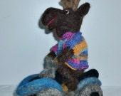 Moose on Four-Wheeler ATV needle felted