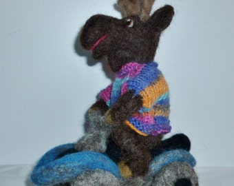 Moose on Four-Wheeler ATV needle felted