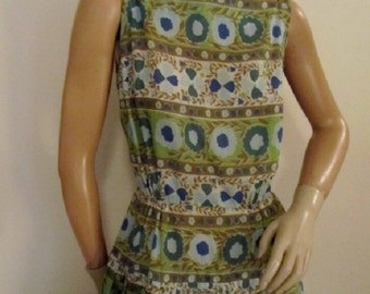60's Cotton Print Day Dress Fitted Dropped Waist Size s/m