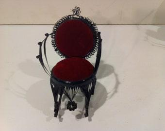 Vintage Tin Rocking Chair Pin Cushion