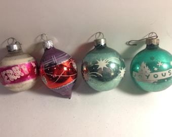 Set of 4 Vintage Xmas Ornaments
