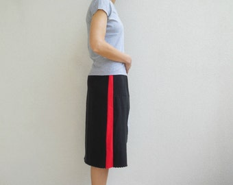 Women's Skirt Pittsburgh Steelers T-Shirt Skirt Red Black Recycled TShirt Skirt Straight Knee Length Skirt Cotton Skirt ohzie
