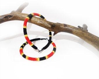 Exotic Big Hoop Post Earrings Crochet Tube Coral Snake Pattern