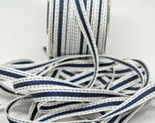 Sold Color Band Ribbon with Stitched Edge -- 3/8 inch -- Navy Cream -- 3 yards
