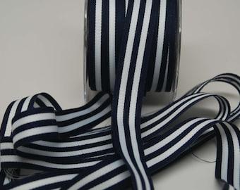 Grosrain Horizontal Stripe Ribbon -- 7/8 inch -- Navy White
