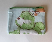Care Bears Zipper Pouch - Small Zip Pouch Coin Purse Wallet - Upcycled made from vintage fabric