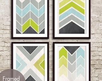 Geometric Chevron (Geo-Metro Series D) - Set of 4 - Art Prints (Featured in D - Aqua and Lime) Geometric Pattern Art Prints