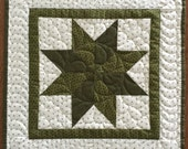 Star Quilt - Machine Quilted - 8 pointed Star - Ready to Ship - Table Topper - Wall Hanging - Green with White