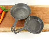 Cleaned Pair Cast Iron Skillets - #5 BSR Birmingham Stove and Range Red Mountain and #3 Unknown Maker