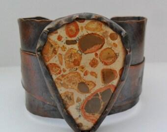 Leopardite Stone Copper Statement Cuff Mens or Womens Copper Cuff