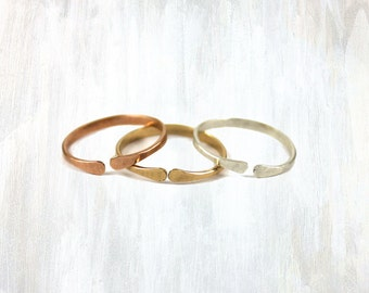 Yellow Gold, Sterling and Rose Gold Stacking Ring Trio, Open Ring Thick Forged Ring