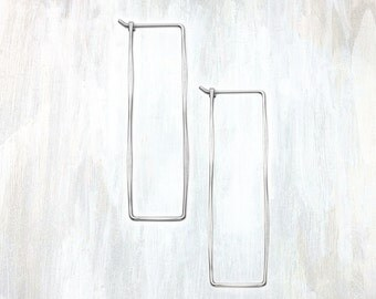 Silver Hammered Rectangle Earring, Rectangle Hoop